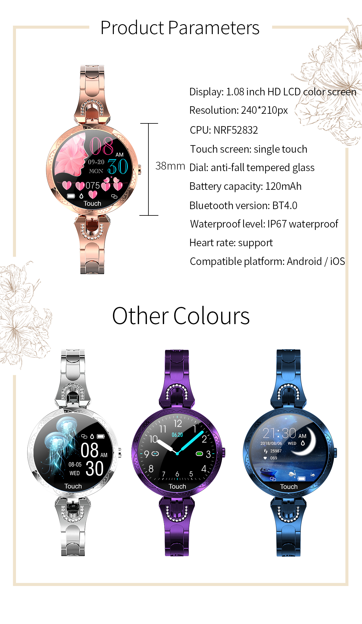 Hdf7bbf1dd7674ee3a4ef625d30920a56M COBRAFLY AK15 Smart Watch Women Bracelet Heart Rate Monitoring IP67 Waterproof Fitness Tracker Ladies Watches for Xiaomi Iphone