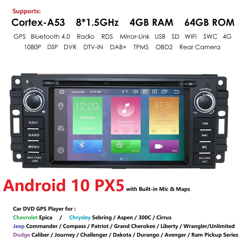 8Core 4G+64G 2din Android10 Car DVD For Jeep Cherokee 2009 2008 2010 Wrangler Car Stereo For Dodge Radio For Chrysler Autoradio