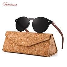 RAVENISA Vintage Round Wood Sunglasses Mono Green Lenses Sun Glasses For Men Women Wooden Eyewear