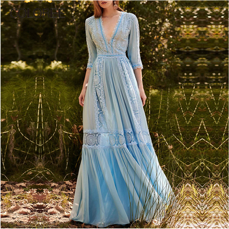 Élégant bleu évider dentelle longue robe de soirée femmes été col en v demi manches en mousseline de soie Patchwork plissé Maxi robe robe de piste - 2