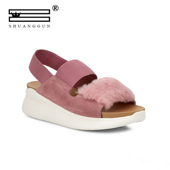 SHUANGGUN Summer Female Sandals Car Line Wear-resistant Anti-slip Large Size Retro Wedge With Thick Bottom Comfortable Sandals