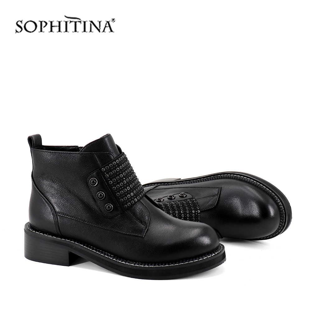 Sophitina Giữa Bắp Chân Đen Giày Kid Da Lộn Med Gót Vuông Mũi Tròn Khóa Kéo Chất Lượng Bán Nữ Giày Nữ Mùa Đông Nhiệt giày SC379