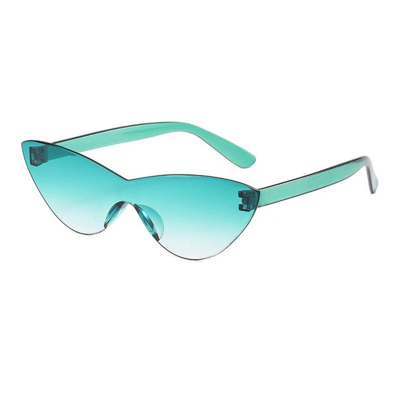 CURTAIN One Piece Gafas Cat Eye Sunglasses Women Candy Color Lens Eye Sun Glasses Female Transperant Shades Oculos Eyewear