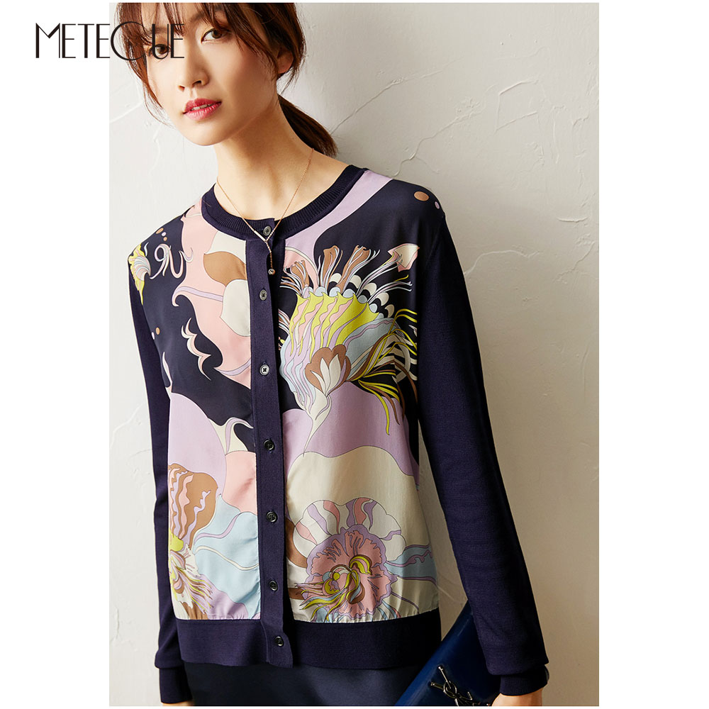 Silk Knitted Patched Women Sweaters And Cardigans 2020 Spring Summer Fashion Single Breasted Button Long Sleeve Women Knitwears