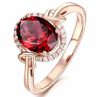 rose gold color red crystal rings for women ruby gemstone engagement zircon diamond fashion party jewelry bijoux Christmas gift