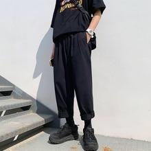 Мужские Простые свободные мужские хлопковые шаровары свободные модные трендовые черные повседневные брюки мужские брюки плюс размер m-xl