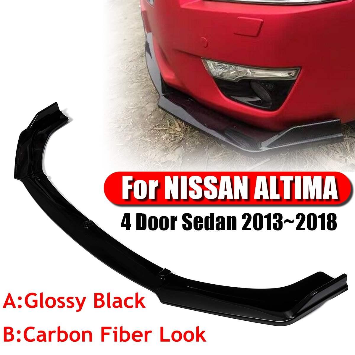 Glossy Black/Carbon Fiber Look 3Pcs Car Front Bumper Lip Bumper Body Kits Splitter Diffuser For NISSAN ALTIMA 4 Door Sedan 13~18