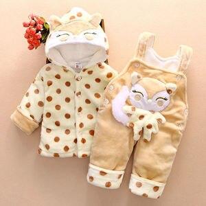 Image 2 - Conjuntos de ropa de abrigo para bebé recién nacido, sudaderas con capucha de algodón grueso de terciopelo + Pantalones de babero, chándales de 2 uds para niña pequeña 2Y