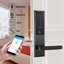 Inteligente bluetooth app senha fechadura da porta keyless digital fechadura da porta senha + 6 cartões 2 teclas mecânicas para casa