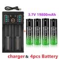 100% Новые 18650 литиевые батареи фонарик 18650 перезаряжаемая батарея 3,7 в 19800 мАч для фонарика + зарядное устройство USB