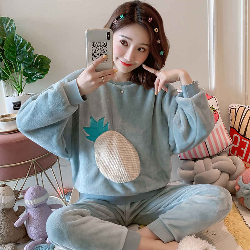 Wholesale WAVMIT Women Warm Flannel Pajama Set Thicken Girl Print Pyjama Set Long Sleeve Sleepwear Suit Women Nightshirt Set 52
