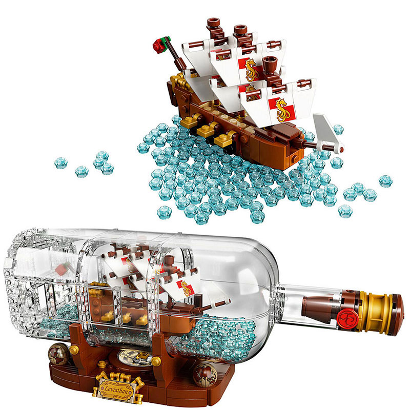 IN STOCK 16051 Creator IDEAS Pirates of the Caribbean Ship in a Bottle Building Blocks Bricks Kids Toys Christmas gift <font><b>21313</b></font> image