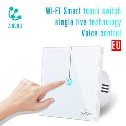 ZINGUO K2-B ue inteligentne ścienny Wifi przełącznik 1 2 Gang 1 2 Way aplikacji światła zdalnego inteligentnego domu przełącznik dotykowy współpracuje z Alexa