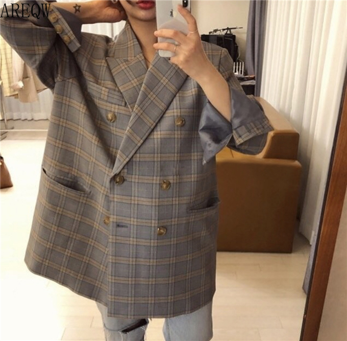 Retro Blue Large Checked Double-breasted Loose OVERSIZE Casual Suit Jacket Women Blazers