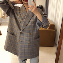 Retro Blue Large Checked Double-breasted Loose OVERSIZE Casual Suit Jacket Women