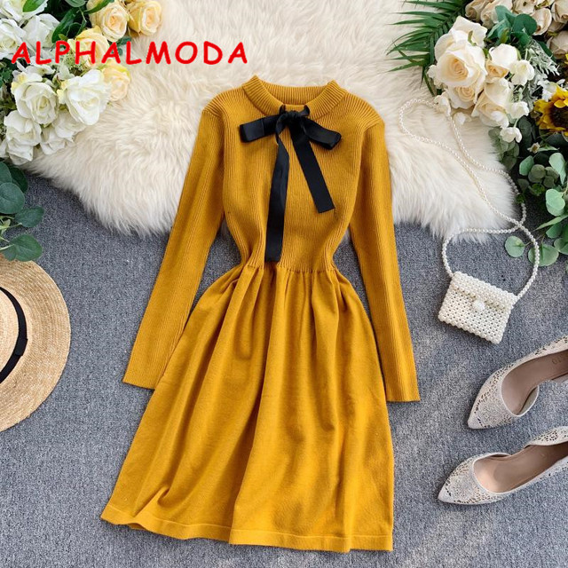 ALPHALMODA 2019 Autumn Butterfly Tie Knitted Long sleeved Dress Women Sweet Slender Waist Preppy Style Knitting Bottom Dress