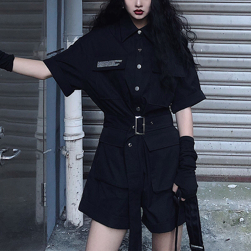 Fashion tooling jumpsuit female summer 2020 new Solid black high waist short sleeved bodysuit wide leg shorts suits ropa mujer