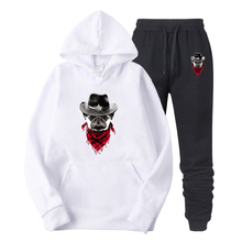 2019 New Fashion Dog Printing Men Hoodies Suits Brand Tracksuit Men/Women Sweatshirts+Sweatpants Autumn Winter Fleece Hooded Pul