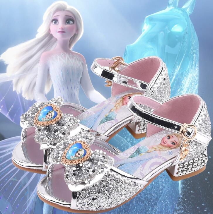 Сандалии для девочек «Холодное сердце 2»; Обувь принцессы Эльзы; Обувь с кристаллами для маленьких девочек; Детская обувь на высоком каблуке...