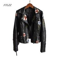 Ftlzz Frauen Floral Print Stickerei Faux Weiche Leder Jacke Mantel drehen-unten Kragen Casual Pu Motorrad Schwarz Punk Oberbekleidung