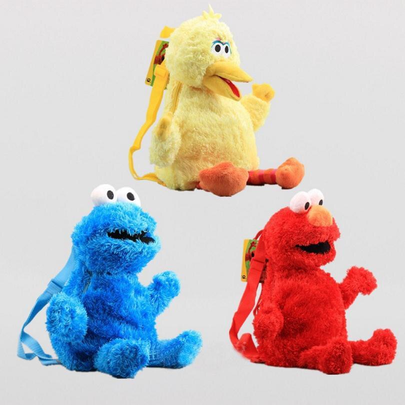 3 Styles 48cm Western Cartoon Sesame Street Plush Bag Red Elmo Blue Cookie Guy Yellow Big Bird Plush Backpack For Boys And Girls