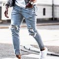 Summer Men Stretchy Ripped Skinny Denim Trousers Casual Solid Jeans Destroyed Hole Taped Male Big Pockets Slim Fit Pencil Pants