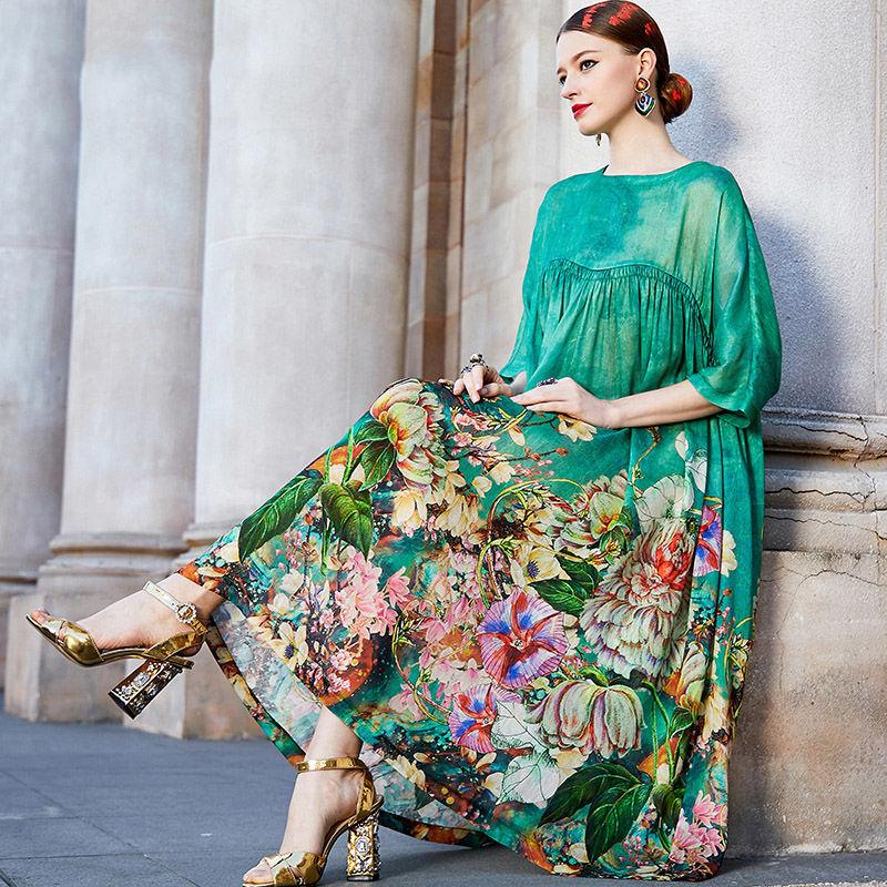 Primavera verão verde elegante vestido floral senhoras a linha retalhos vestidos plus size 4xl casual solto vestidos vintage mujer 2020