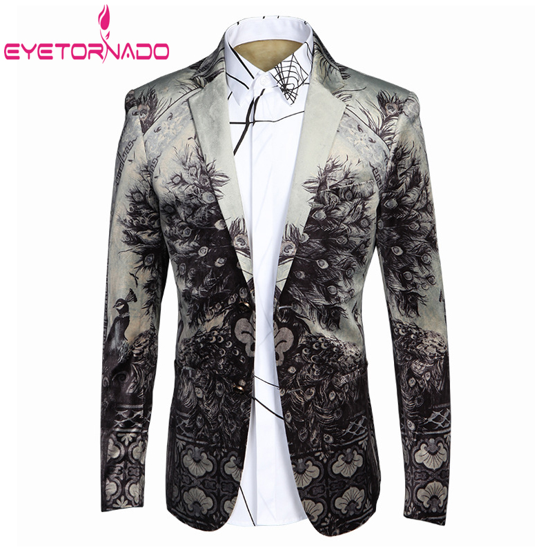 Korean Style Men's Suit Jacket Floral Print Business Formal Dress Suit Single Breasted Slim Fit Groom Wedding Party Blazers 4XL