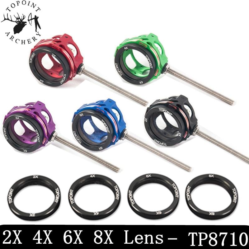 Compound Bow Scope Sight 2x 4x 6x 8x Lens .019 Optical Fiber Pin 29mm Archery