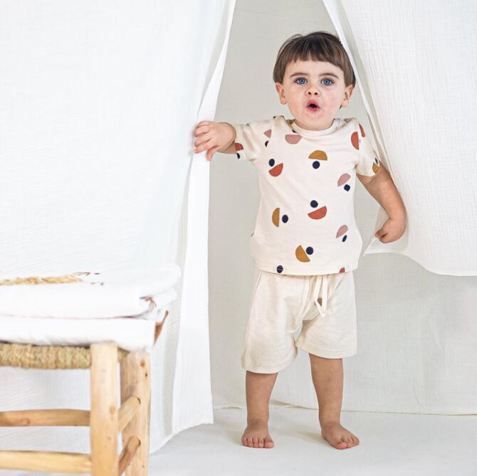 Kids T-shirts OZ Brand 2021 Spring Summer New Design Boys Girls Fashion Dot Print Pants Baby Child Cotton Cute Outfits Clothes 4