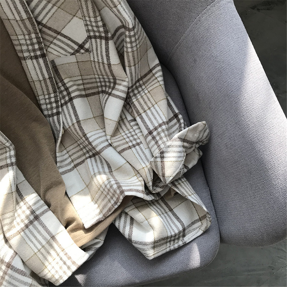 Spring Thick Loose cotton plaid Women blouses shirt 2020 female long sleeve Casual Warm women Blouse shirt office lady top Y0675 (32)
