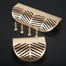 Leaves Knob Furniture Cabinet Drawer Handle Gold Zinc-Alloy Golden Brushed Cupboard Leaf-Shaped