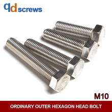 M10 Ordinary Stainless Steel Outer Hexagon head Bolt DIN933 ISO 4017 GB5783