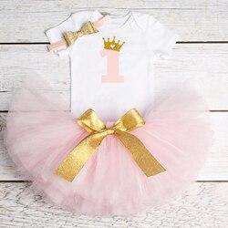 От 1 до 2 лет Вечерние платья на день рождения для маленьких девочек, 2 года костюм для крещения одежда принцессы для малышей Пышное Платье на ...