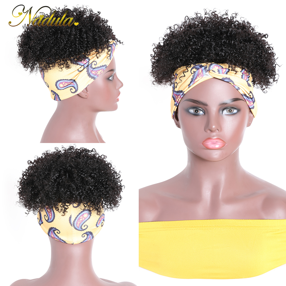 Nadula Hair Fluffy Headband Wig  Short Kinky Curly Wig  Kinky Curly Hair Wrap Wig Linked Turban 4