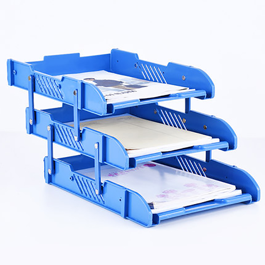 3-layer PP Mesh File Holder Stand Organizer Document Tray For Magazine Letter Paper Document Home Office Desk Lifting File Trays