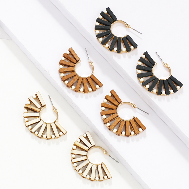 AENSOA Fan Shaped Vintage Wooden Big Geometric Earring Ethnic Unique Handmade Hollow Wooden Fan-shaped Drop Earring For Women