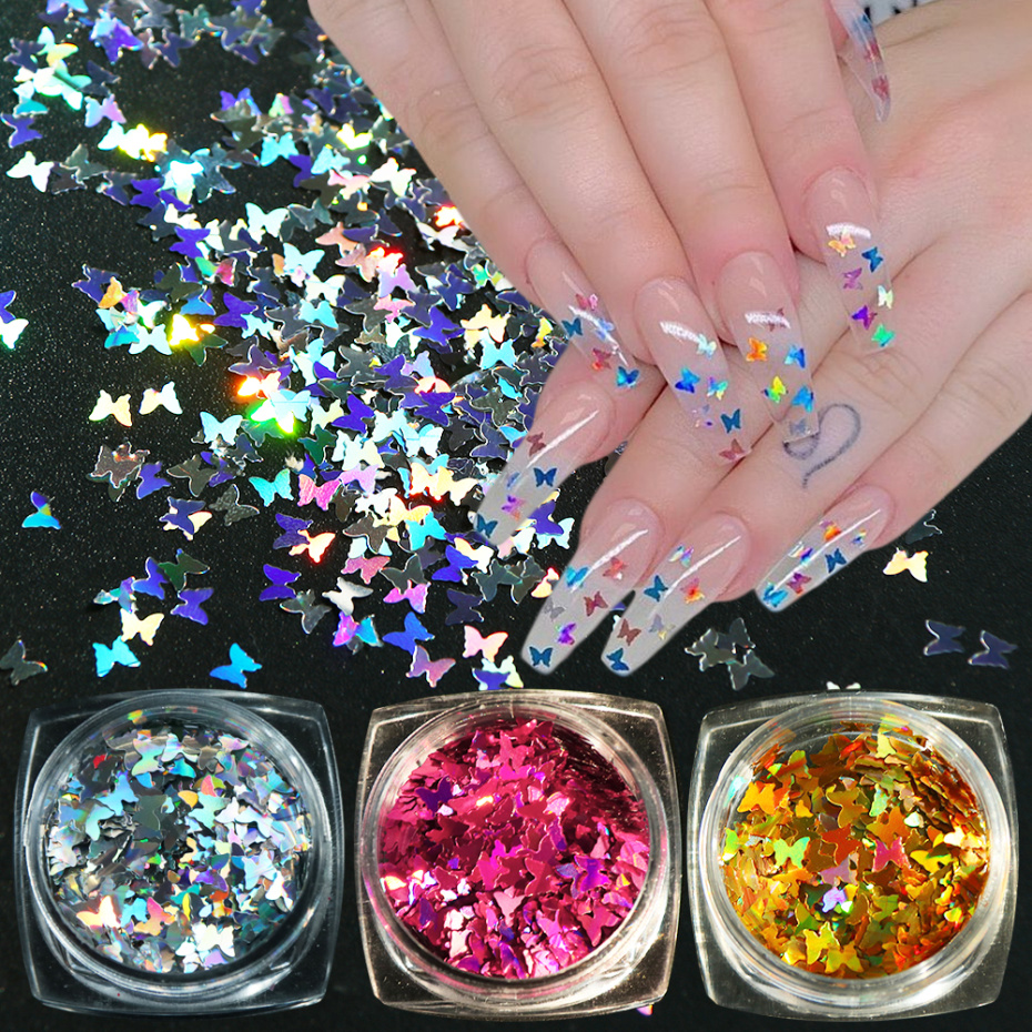 1Box Holographic Butterfly Nail Art Decorations Flakes Glitter Thin Sequin Chrome 3D Sparkle Polish Manicure Slice LAHD01-05-2
