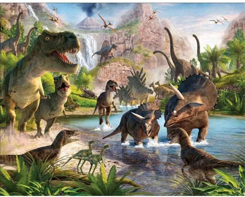 لوحة ماسية خماسية الأبعاد حفر كامل ، ديناصورات ومحيط ، أطقم رسم ماسية للبالغين والأطفال حجر الراين الكريستالي يمكنك صنعه بنفسك