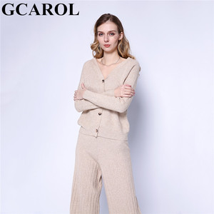 Image 2 - GCAROL חדש נשים של סטי V צוואר קרדיגן רחב רגל מכנסיים 2 pcs סט לסרוג למעלה אלסטי מותניים מכנסיים פנאי סתיו חורף תלבושות