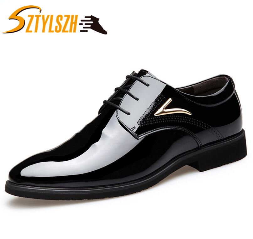 Italy Designer Men Shoes Luxury Brand Oxford Shoes For Men Classic Business Pointed Toe Dress Shoes Patent Leather Wedding Shoes