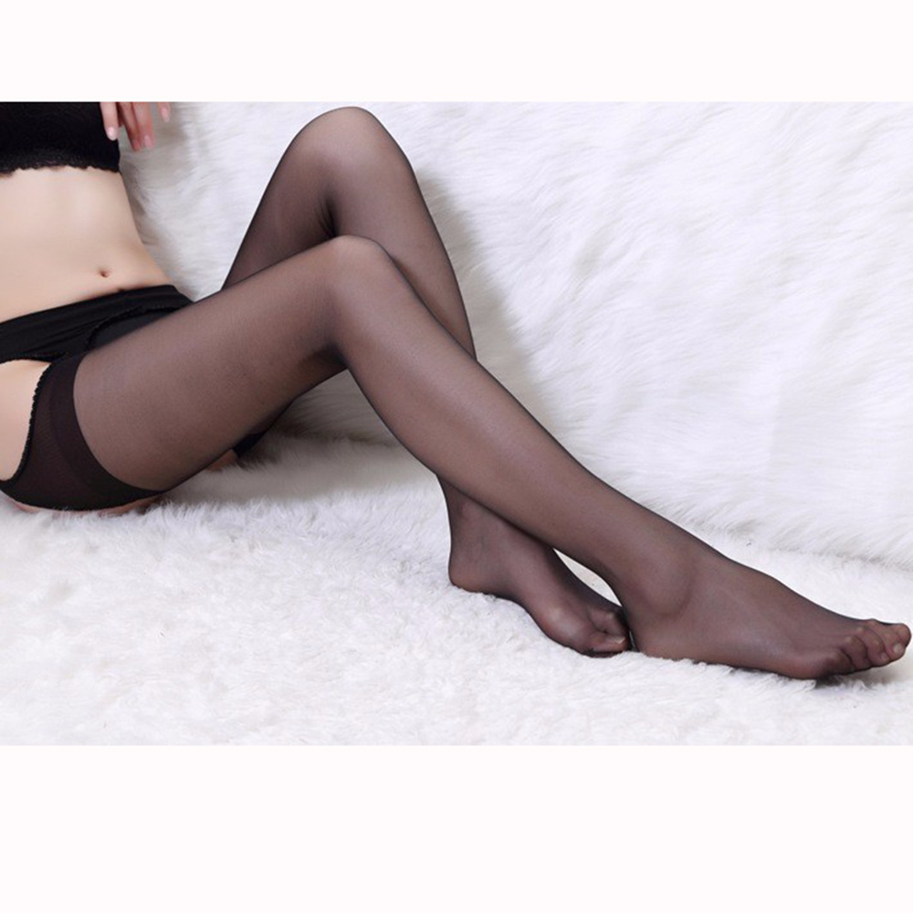Sexy Open Crotch Semitransparent Design Suspender Pantyhose Tights Stockings Blk