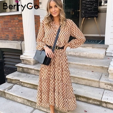 BerryGo Bohemian long party dress women Elegant office lady autumn winter dress Floral print geometric women vintage dress