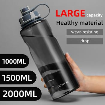 BPA bezpłatne butelki na wodę na zewnątrz 1000ml 1 5l 2L bidon plastikowy o dużej pojemności z zaparzaczem do herbaty Fitness szczelna moja butelka tanie i dobre opinie THIRSTEA Z tworzywa sztucznego PC+PP Dorosłych Butelki wody Zaopatrzony Ekologiczne PL-001 Bezpośredniego picia Turystyka