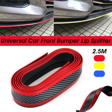 2.5m Car Bumper Lip Strip Protectors Splitter Body Kits Spoiler Bumpers Door Carbon Fiber Rubber 65mm Width