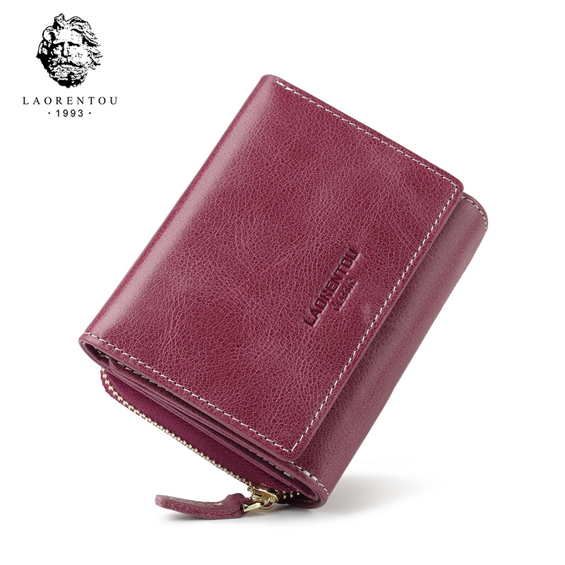 LAORENTOU 2019 New Cow Genuine Leather Female Casual Short Purse Lady Large Capacity Money Bag Lady Small Wallet