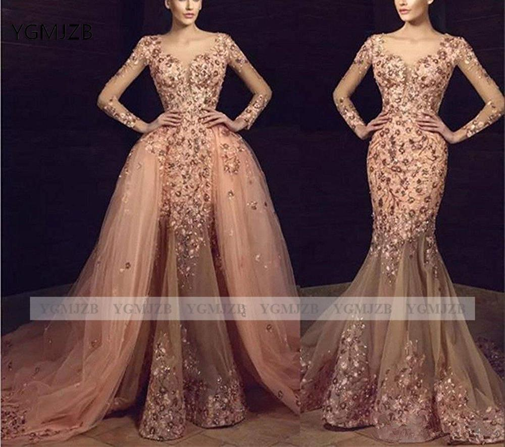 Elegant Mermaid Prom Dresses Removable Train 2020 V Neck Long Sleeves Beading Lace Women Formal Evening Gown Party Prom Gowns
