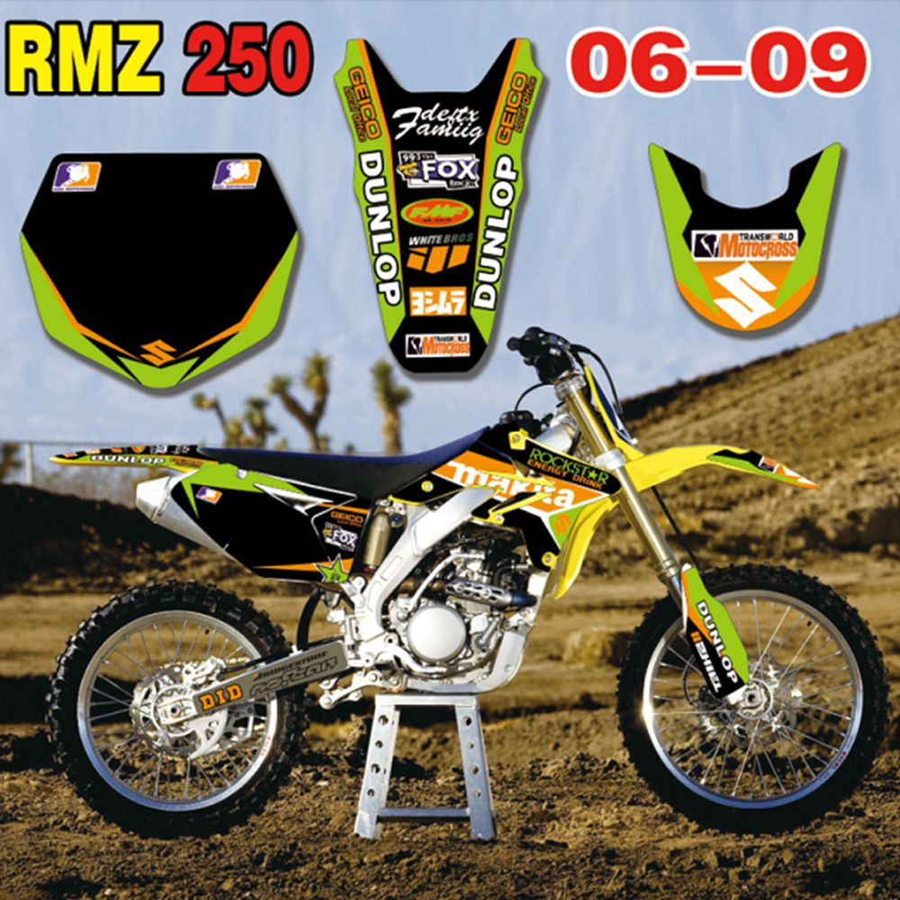 New Full Graphics Decals Stickers Custom Number Name Glossy Bright Stickers Waterproof For Suzuki RMZ250  2006-2009
