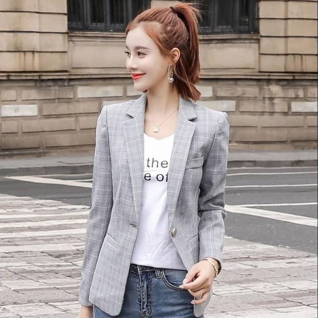 PEONFLY Vintage Single Button Office Ladies Plaid Blazer Casual Korean Style Long Sleeve Coat Jacket Women Blazers Female 6