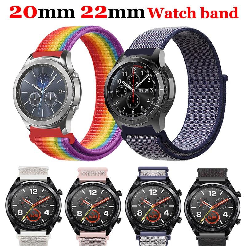 22mm 20mm Watch Band For Samsung Galaxy Watch Gear S3 Frontier Strap 46mm 42mm Sport Loop Nylon Amazfit Gtr 47 Huawei Watch Gt